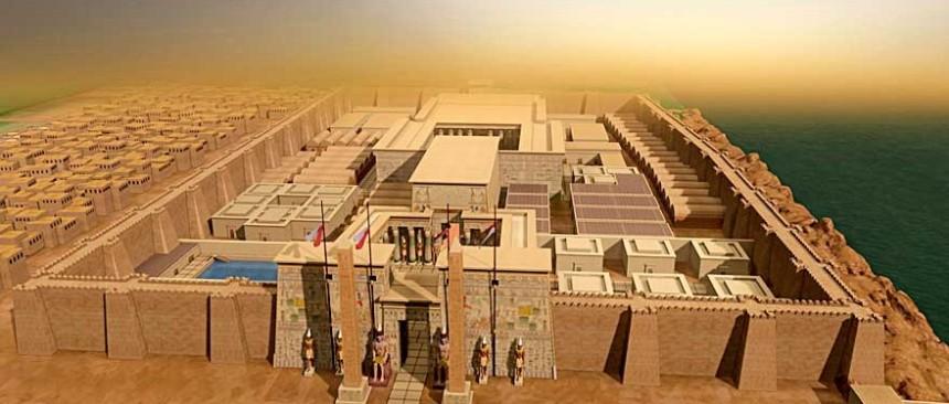Recreación del Templo de Luxor en Tebas dedicado a Amón